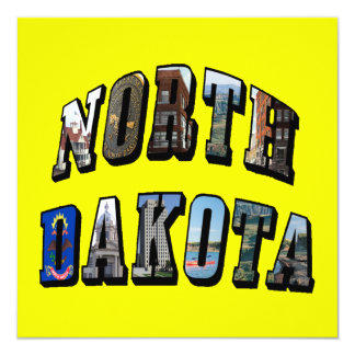 North Dakota Picture Text 13 Cm X 13 Cm Square Invitation Card