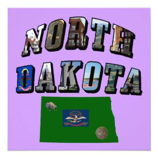 North Dakota Picture Text 5.25x5.25 Square Paper Invitation Card