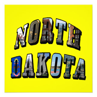 North Dakota Picture Text Invitations