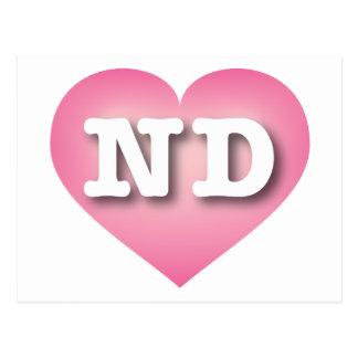 North Dakota Pink Fade Heart - Big Love Postcard