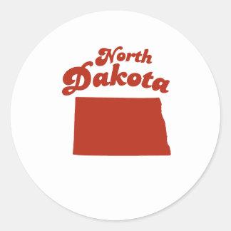 NORTH DAKOTA Red State Round Sticker