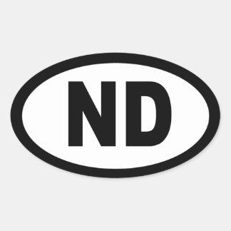 North Dakota - sheet of 4 oval car stickers