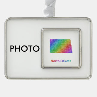 North Dakota Silver Plated Framed Ornament