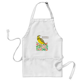 North Dakota State Bird Western Meadowlark Roses Standard Apron