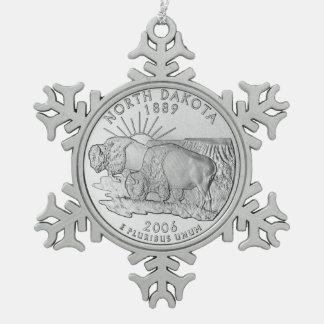 North Dakota State Quarter Snowflake Pewter Christmas Ornament
