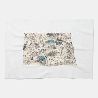 North Dakota Vintage Picture Map Tea Towel