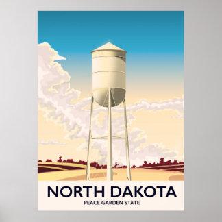 North Dakota Water Tower travel poster