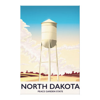 North Dakota Water Tower travel poster Canvas Print