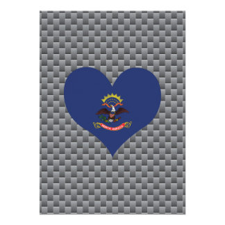 North Dakotan Flag on a cloudy background 13 Cm X 18 Cm Invitation Card