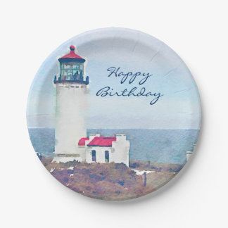 North Head Lighthouse Ilwaco, WA Watercolor Print Paper Plate