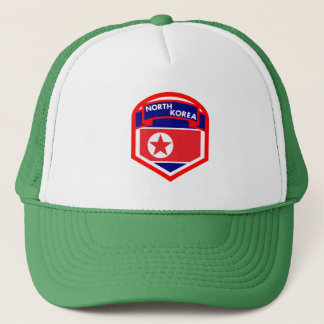 North Korea Flag Coat of Arms Trucker Hat
