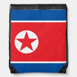 North Korea Flag Drawstring Bag