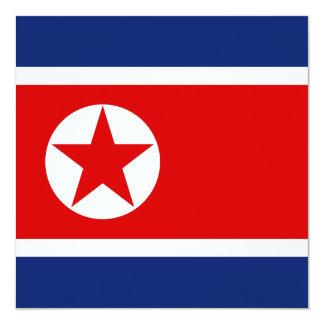"""North Korea Flag Invitation 5.25"""" Square Invitation Card"""