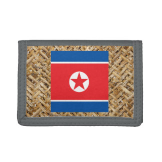 North Korea Flag on Textile themed Tri-fold Wallets