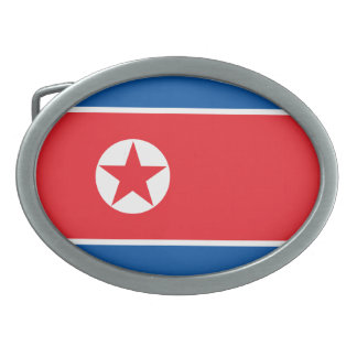 North Korea Flag Oval Belt Buckles