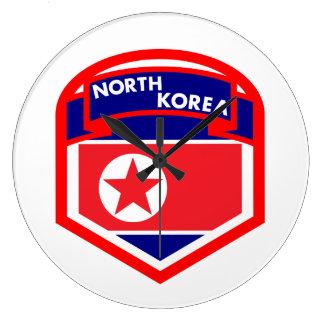 North Korea Flag Shield Large Clock
