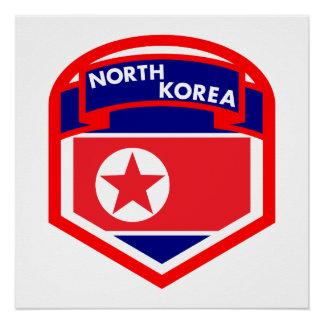 North Korea Flag Shield Poster