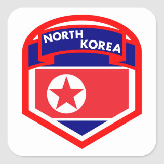 North Korea Flag Shield Square Sticker