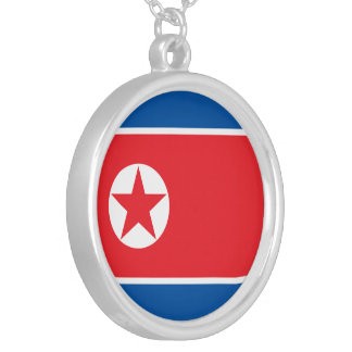 North Korea Flag Silver Plated Necklace
