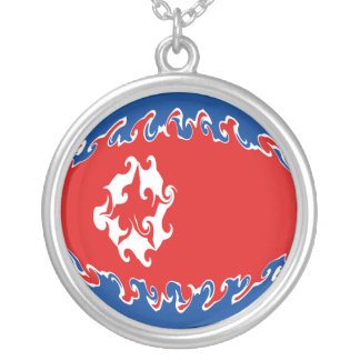 North Korea Gnarly Flag Round Pendant Necklace
