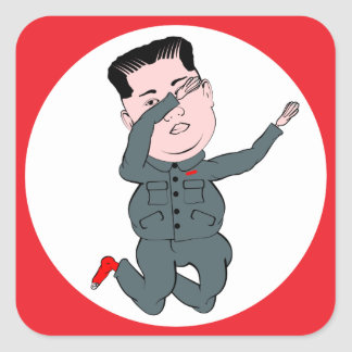North Korea Kim Jong Un Dabbing Square Sticker