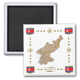 North Korea Map + Flags Magnet