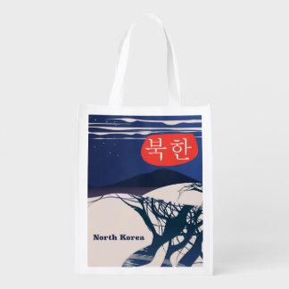 North Korean vintage travel poster Reusable Grocery Bag