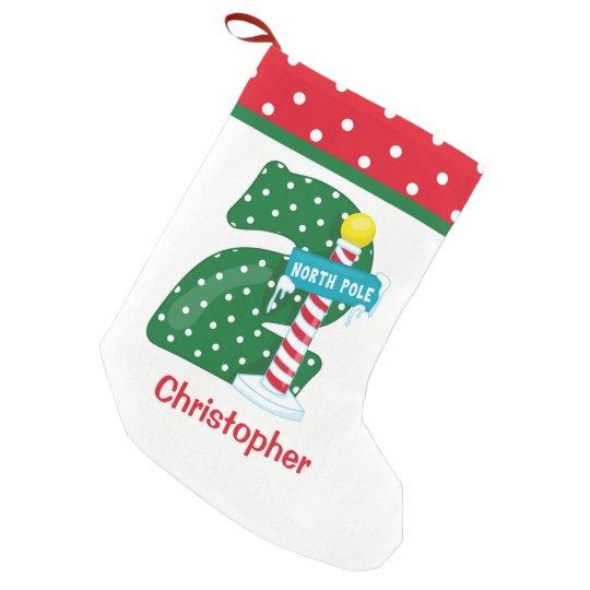 North Pole 2nd Birthday Small Christmas Stocking