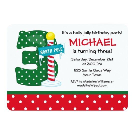 North Pole 3rd Birthday Card