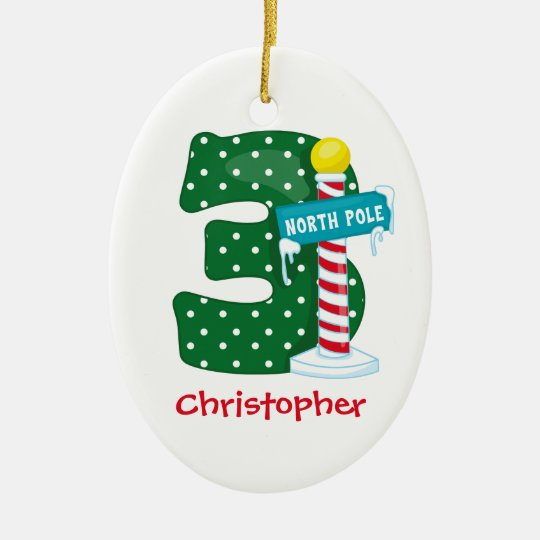 North Pole 3rd Birthday Ceramic Ornament