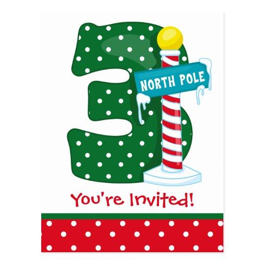 North Pole 3rd Birthday Postcard