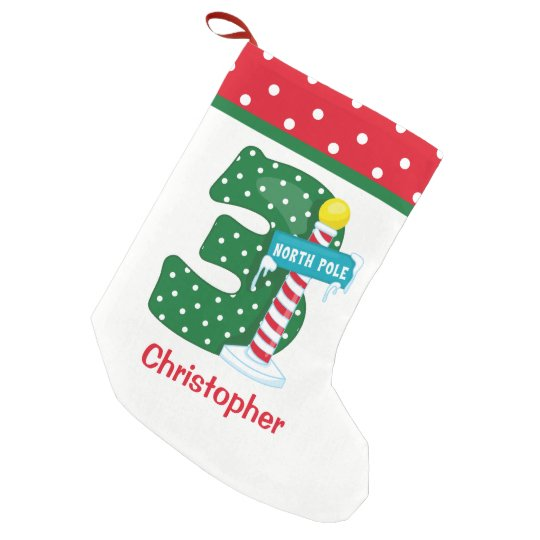 North Pole 3rd Birthday Small Christmas Stocking