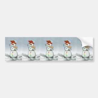 North Pole Bound Snowman Bumper Sticker