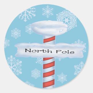 North Pole Christmas Classic Round Sticker