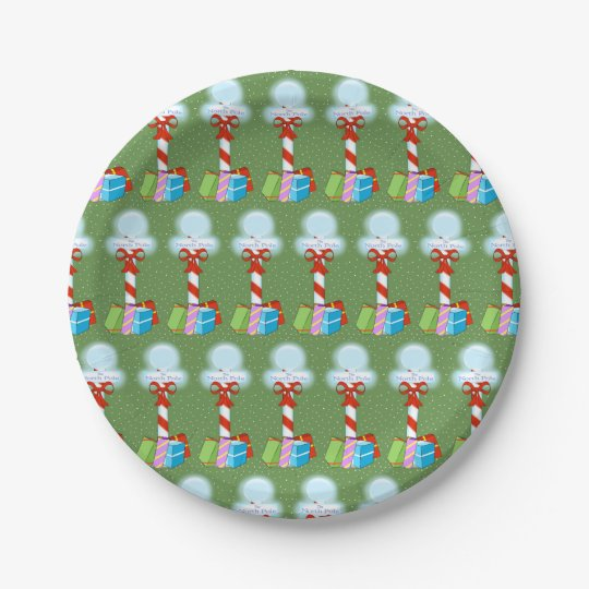 North Pole Christmas Paper Plates