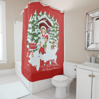 North Pole Elves, Santa Claus and Wildlife Shower Curtain