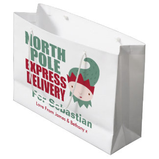North Pole Express Delivery Personalized Elf Large Gift Bag