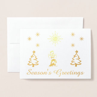 North Pole foil (gold or silver) Christmas card. Foil Card