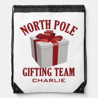 North Pole Gifting Team custom name backpack