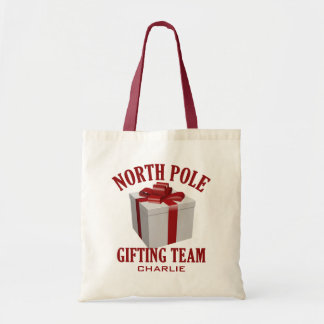 North Pole Gifting Team custom tote bags