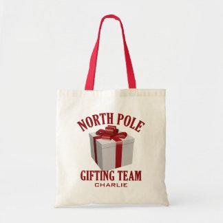 North Pole Gifting Team custom tote bags