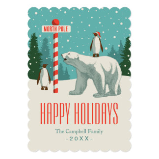 North Pole Holiday Party 13 Cm X 18 Cm Invitation Card
