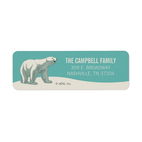North Pole Holiday Polar Bear Return Address Label