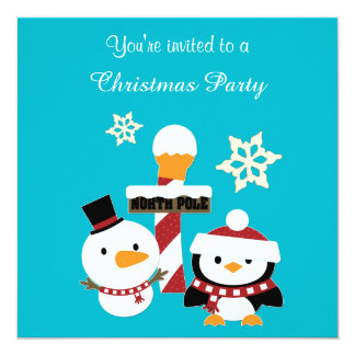 North Pole Penguin Holiday Party 13 Cm X 13 Cm Square Invitation Card