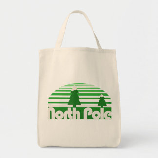 North Pole Retro Christmas Grocery Tote Bag