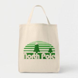 North Pole Retro Christmas Grocery Tote Bag