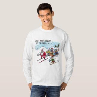 North Pole Rush Hour l-slv Christmas cartoon shirt