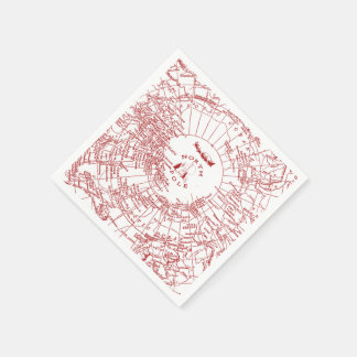 North Pole Santa Map Napkins Disposable Serviettes