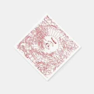 North Pole Santa Map Napkins Disposable Serviettes