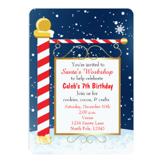North Pole Sign Christmas Event Party Invitation